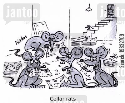 stairs cartoon humor: Cellar rats.