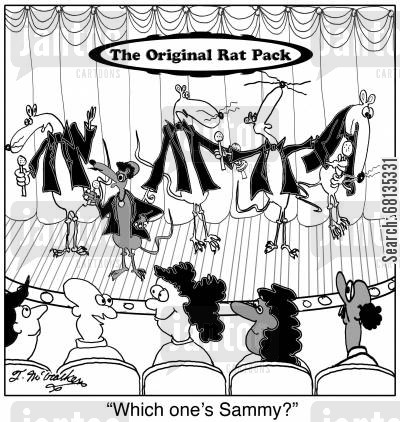 rat pack cartoon humor: 'Which one's Sammy?'