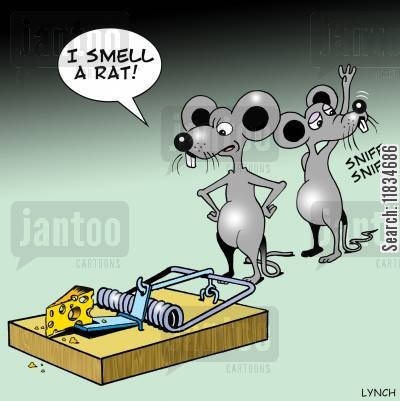 lures cartoon humor: 'I smell a rat.'