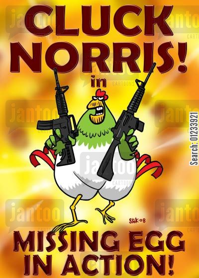 movie posters cartoon humor: Cluck Norris in 'Missing Egg in Action'.