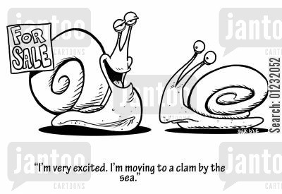 clam cartoon humor: 'I'm very excited. I'm moving to a clam by the sea.'
