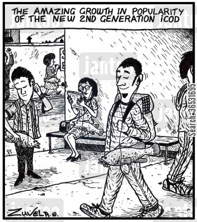 ipods cartoon humor: The amazing growth in popularity of the new 2nd generation icod.