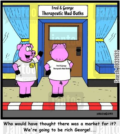 new shop cartoon humor: 'Who would have thought there was a market for it? We're going to be rich George!...'