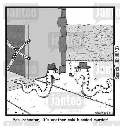 cold-blooded murders cartoon humor: Yes, inspector, it's another cold-blooded murder!