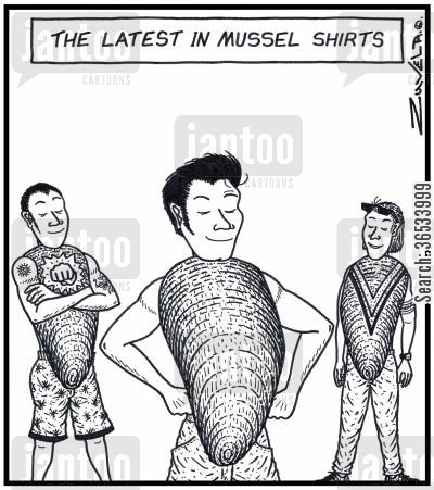 catwalks cartoon humor: The Latest in Mussel Shirts