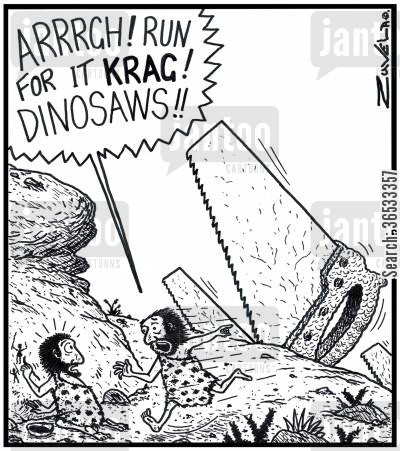 days out cartoon humor: Caveman: 'ARRRGH! Run for it KRAG! DINOSAWS!!'