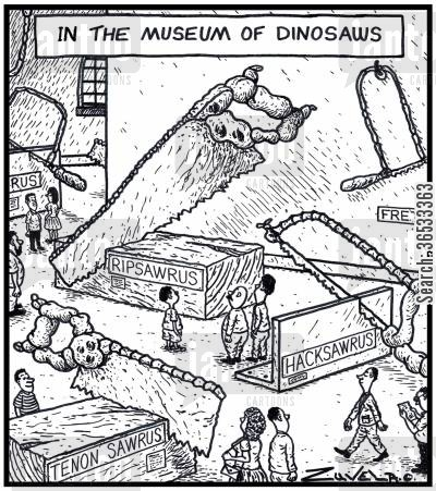 days out cartoon humor: In the Museum of Dinosaws.