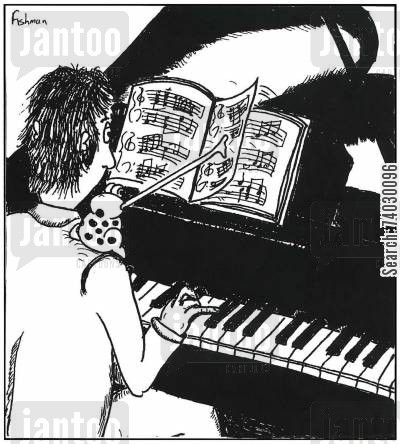 page turner cartoon humor: A pianist uses a frog as a page turner.