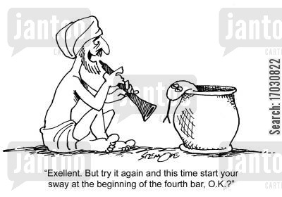 rehearsal cartoon humor: 'Excellent. But try it again and this time start your sway at the beginning of the fourth bar, O.K.?'