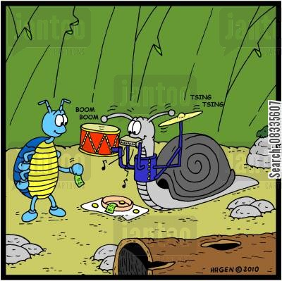 cymbals cartoon humor: Snail one man band.