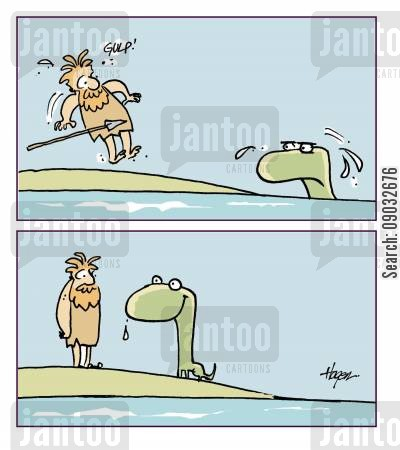 frightens cartoon humor: Caveman surprised by dinosaur.