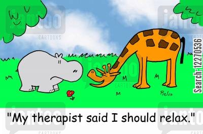 necks cartoon humor: 'My therapist said i should relax.'