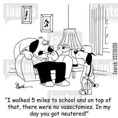 the snip cartoon humor: 'I walked 5 miles to school and on top of that, there were no vasectomies. In my day you got neutered!'