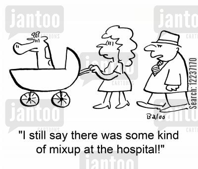carriages cartoon humor: 'I still say there was some kind of mixup at the hospital!'