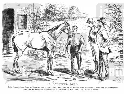 buy cartoon humor: Master inspecting new horse