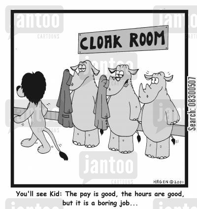 work hours cartoon humor: 'You'll see, Kid: The pay is good, the hours are good, but it is a boring job...'