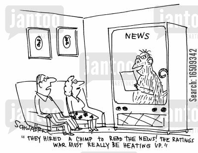 ratings war cartoon humor: 'They hired a chimp to read the news! The ratings war must really be heating up.'