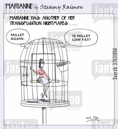 caged bird cartoon humor: Marianne in bird cage