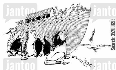the ark cartoon humor: Noah leaving all the animals behind.