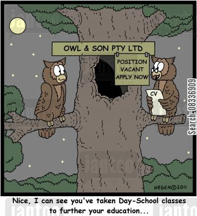 day school cartoon humor: 'Nice, I can see you've taken Day-School classes to further your education...'