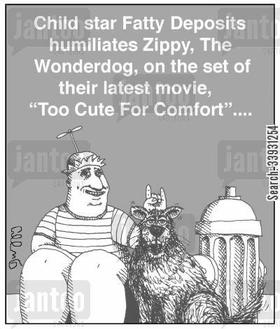 devil horns cartoon humor: Child star Fatty Deposits humiliates Zippy, The Wonderdog, on the set of their latest movie, 'Too Cute For Comfort'....