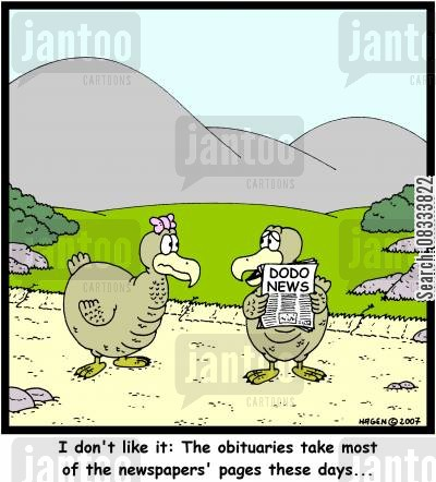 rare bird cartoon humor: I don't like it: The obituaries take most of the newspapers' pages these days...