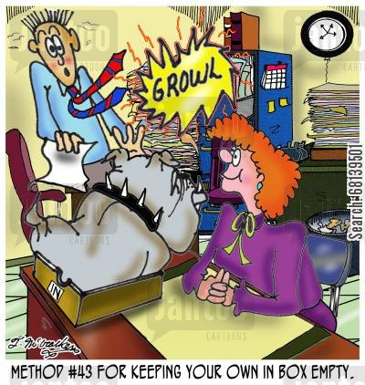 bull dog cartoon humor: Method #43 for keeping your own In Box empty.