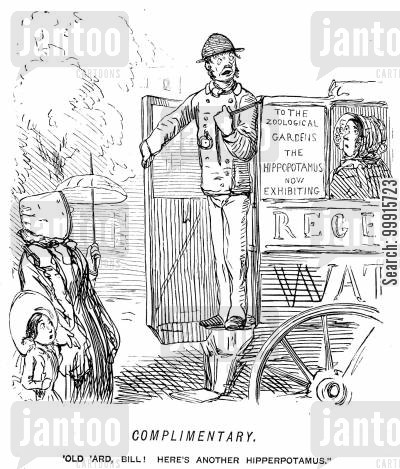 omnibus driver cartoon humor: Omnibus conductor heading for the zoological gardens refers to a passenger as 'another hipperpotamus'