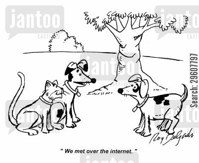 species cartoon humor: 'We met over the internet.'