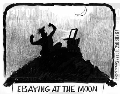 howl cartoon humor: Ebaying at the moon.