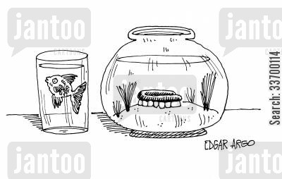 teeth care cartoon humor: Fish in glass, teeth in tank.
