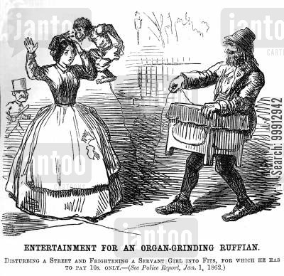 street performer cartoon humor: Organ grinder setting his monkey on a servant girl