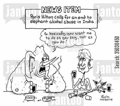 paris hilton cartoon humor: Paris Hilton calls for an end to elephant alcohol abuse in India.