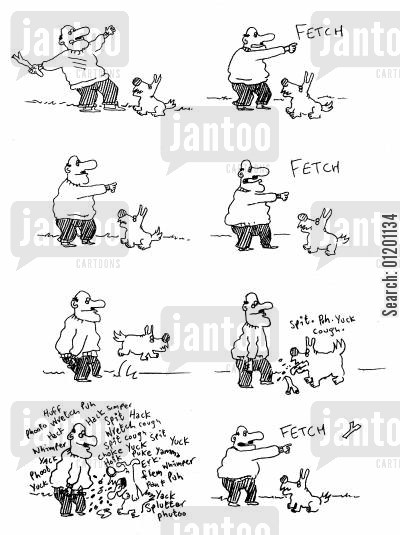 old dog cartoon humor: Man and his dog playing fetch