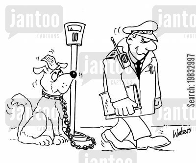 parking fine cartoon humor: Traffic warden.