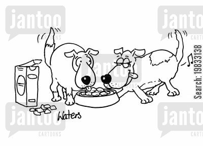 dogs dinner cartoon humor: Parping dog.