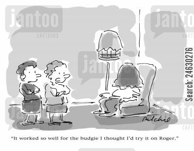 covered up cartoon humor: 'It worked so well for the budgie I thought I'd try it on Roger.'