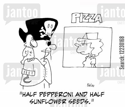 pizza orders cartoon humor: 'Half pepperoni and half sunflower seeds.'