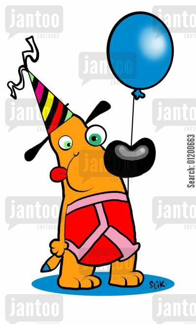 party wear cartoon humor: Dog with balloon, y-fronts, and party hat