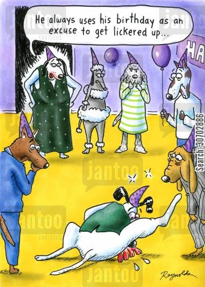 social drinkers cartoon humor: Birthday party