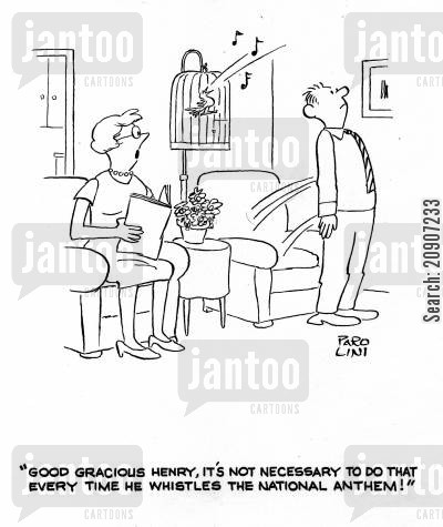 stand to attention cartoon humor: 'Good gracious Henry, it's not necessary to that every time he whistles the national anthem!'