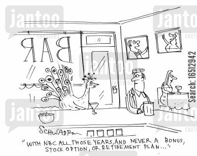 stock options cartoon humor: 'With NBC all those years, and never a bonus, stock option or retirement plan...'