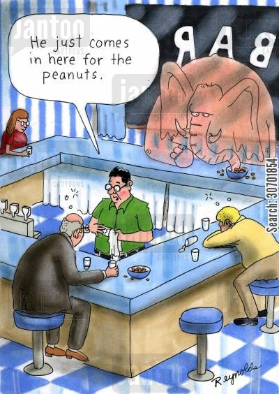 drinking establishments cartoon humor: 'He just comes in here for the peanuts.'
