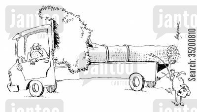sawmills cartoon humor: Dog urinating on tree on the back of a lorry