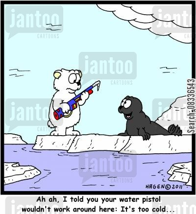 ice caps cartoon humor: 'Ah ah, I told you your water pistol wouldn't work around her: It's too cold...'