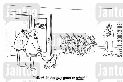 obedient cartoon humor: 'Wow! Is that guy good or what!'
