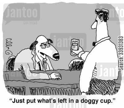 doggy bag cartoon humor: 'Just put what's left in a doggy cup.'