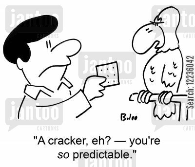 talking parrot cartoon humor: 'A cracker, eh? -- you're so predictable.'