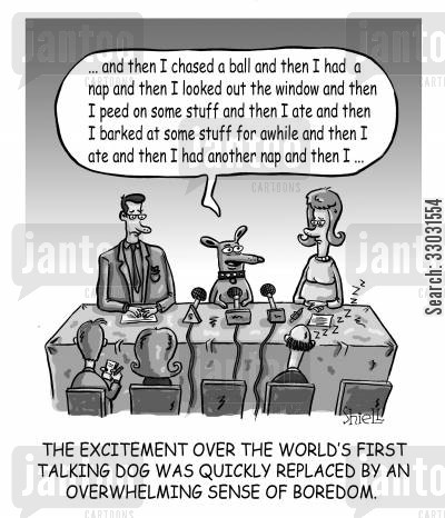 domesticated animals cartoon humor: The World's First Talking Dog,