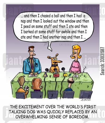 big story cartoon humor: The Worlds First Talking Dog.